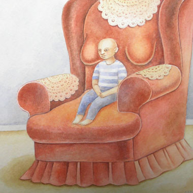 """Little bald guy 1995"" Watercolor"