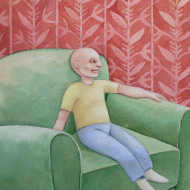 """Little bald guy 1996"" Watercolor"