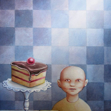 """Leif Little bald guy 1997"" Watercolor"