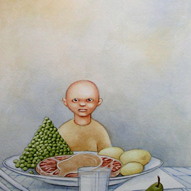 """Little bald guy 1997"" Watercolor"