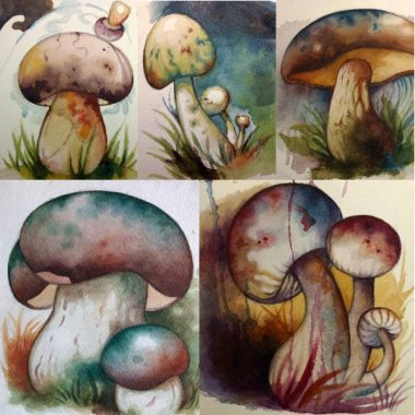 """Mushrooms, March & April 2018"" Small watercolors"